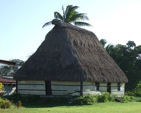 Exotic hotels in Fiji could include a traditional bure.