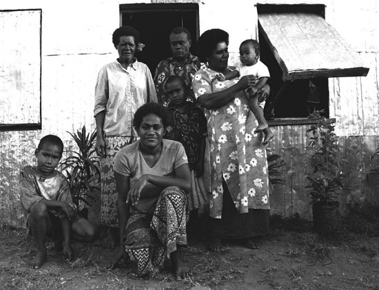 fiji people/family at a villlge