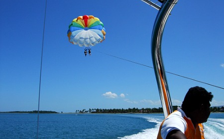 parasailing near Denarau Island on our Fiji holiday