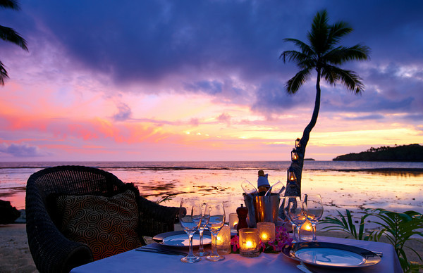 Sunset dining at Namale Fiji
