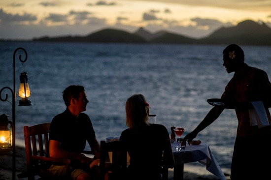 Romantic sunset cocktails on Tokoriki Island
