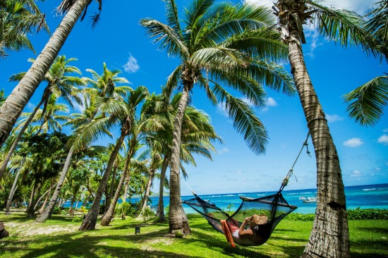 Lazing on a hammock at Tokoriki Island Resort