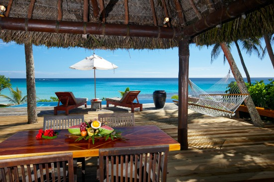 Outdoor dining at your bure at Yasawa Island Resort Fiji