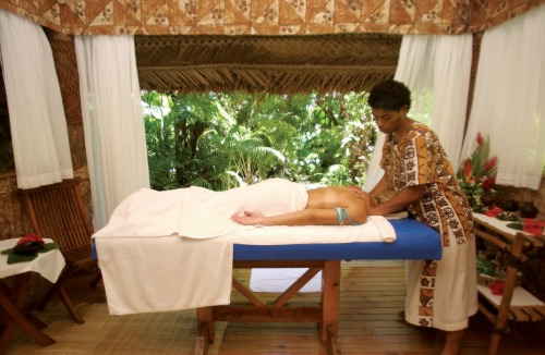 A massage at Castaway Island Resort, Fiji