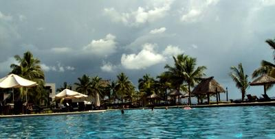 Storm coming in over our resort pool
