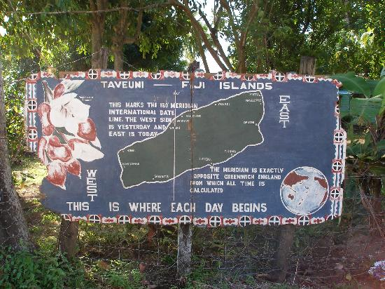 international dateline on Taveuni Island Fiji