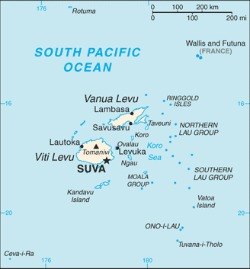 Map of Fiji showing Levuka