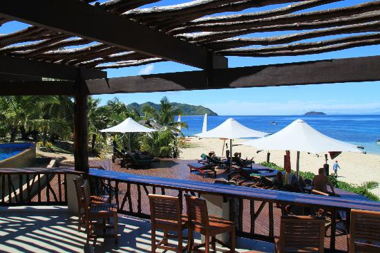 Matamanoa Island Resort, looking out from dining area on a Fiji vacation