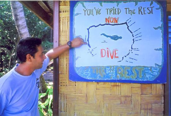 Moody's Namena Resort's dive map in Fiji