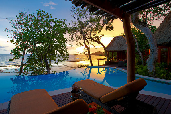 At your private bure at Namale Resort at sunset