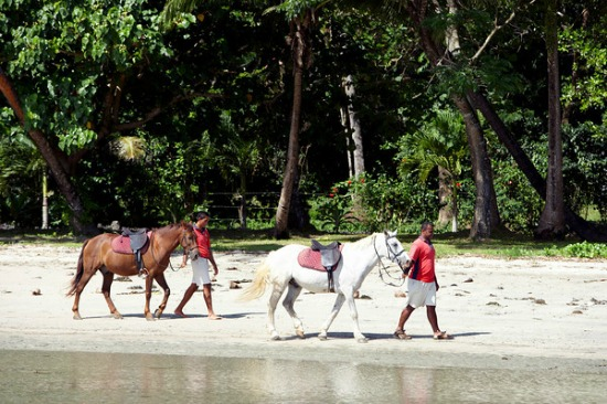 Romantic horse backing riding at Namale Resort Fiji