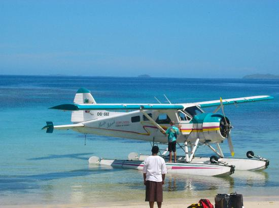 Arriving by seaplane to Vomo Island