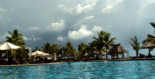 Our Fiji resort pool with the storm brewin