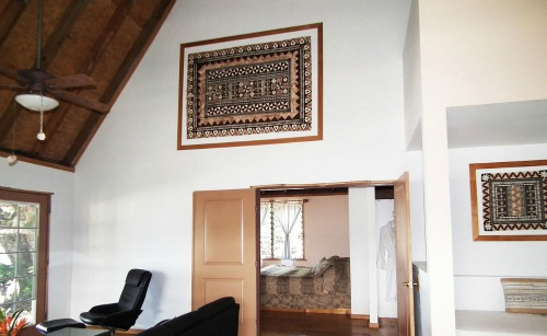 A masi hanging on walls at a Fiji resort