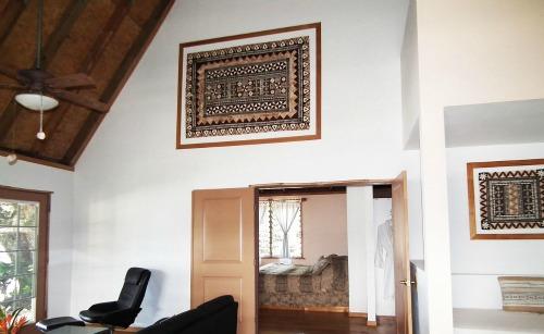 A masi hanging on walls at a Fiji resort