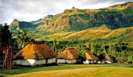 Bures in Navala Village in the highlands of Viti Levu, Fiji