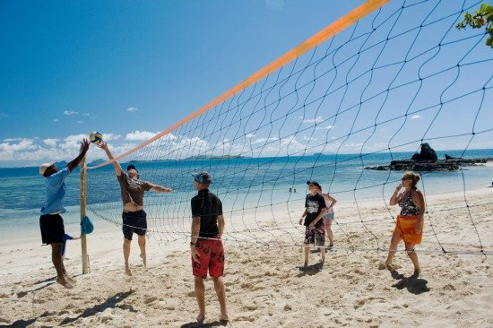 castaway island resort playing volleyball