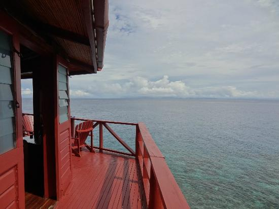 Looking out from the deck of a bure at Moody's Namena on a Fiji vacation